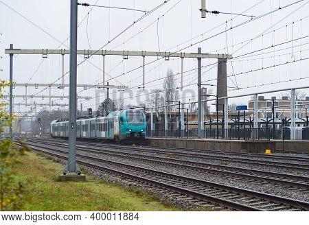 Oldenzaal, Netherlands - December 13, 2020: Eutobahn Train Arriving At Oldenzaal Station. Eurobahn I