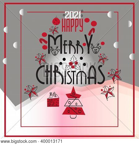 Set Of Christmas Icons In Line Style, Trendy Colors, Happy Newyear
