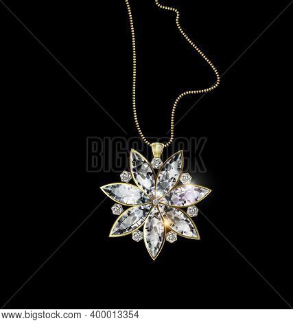 Black Background And Jewel Pendant Star With Gold Chain