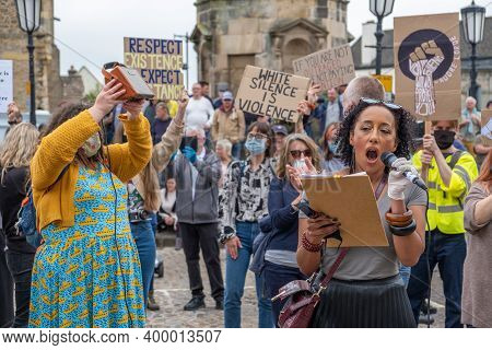 Richmond, North Yorkshire, Uk - June 14, 2020: A Powerful Black Woman Rallies, With Her Supporters I