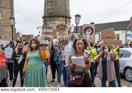 Richmond, North Yorkshire, Uk - June 14, 2020: A Black Woman Protests At A Black Lives Matter Rally