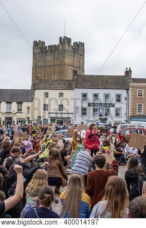 Richmond, North Yorkshire, Uk - June 14, 2020: Protesters Kneel At A Black Lives Matter Rally In Ric