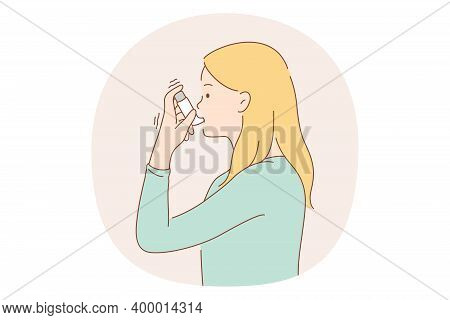 Asthma And Inhaler Concept. Young Woman Asthmatic Using Spray Inhaler For Preventing Disease Attacks