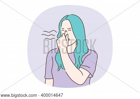 Unpleasant Smell Concept. Young Girl Teenager Cartoon Character Covering Nose With Hands Smelling Di