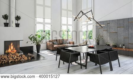 Cozy white design style scandinavian style living room interior with sofa. 3d Rendering