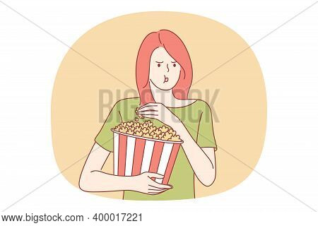 Fast And Junk Food, Unhealthy Eating, Calories Concept. Young Stressed Girl Cartoon Character Eating