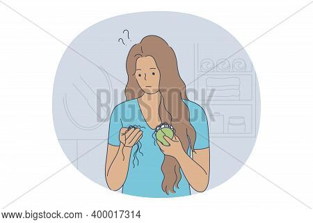 Losing Hair Concept. Young Unhappy Stressed Woman Cartoon Character Looking At Hairbrush And Finding