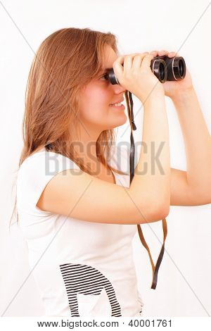 Pretty Young Girl With Binoculars