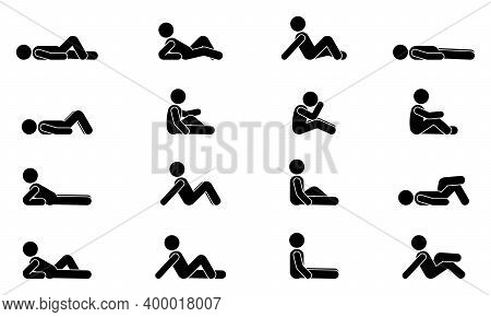 Stick Figure Man Lie Down Various Positions Vector Illustration Icon Set. Male Person Sleeping, Layi