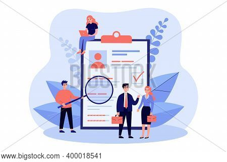 Tiny People Checking Application Form For Employment Isolated Flat Vector Illustration. Cartoon Char