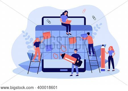 Happy Tiny Employees Making Organizer Or Schedule In Big Tablet Flat Vector Illustration. Cartoon St
