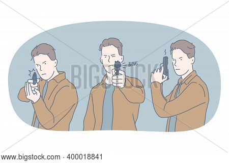 Weapons And Gun Concept. Young Angry Aggressive Man Cartoon Character In Casual Clothing Standing An