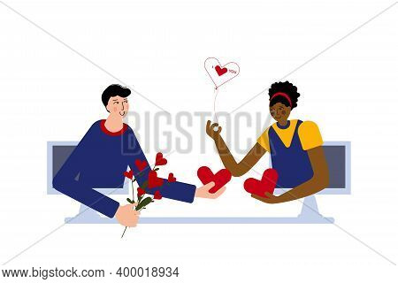 Cute Couple Is Celebrating Together Valentines Day Online. Valentines Day Celebration With Your Love