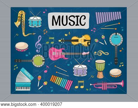 Blue Background Design With Musical Instruments. Variety Of Instruments For Musicians. Concert And E