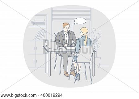 Interview, Office Job Seeker Concept. Young Businessman Boss Director Sitting And Interviewing Woman