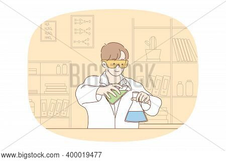Science, Chemistry, Experiment Concept. Young Smiling Boy Scholar Medical Lab Worker Making Chemical