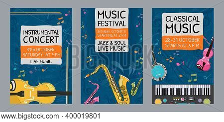 Creative Music Festival Invitation Designs. Trendy Instrumental Concert Invitations With Musical Ins