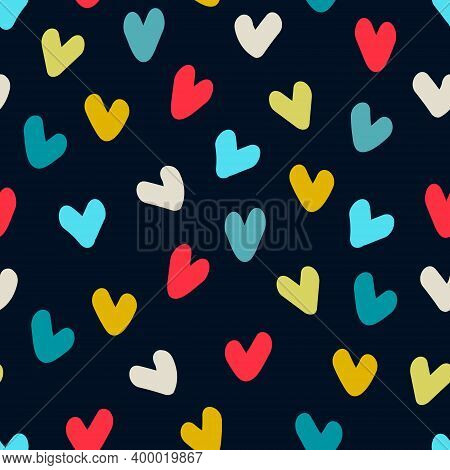 Seamless Pattern. Hand Drawn Multicolored Heart Shapes On Dark Blue Background, For Wrapping Paper A
