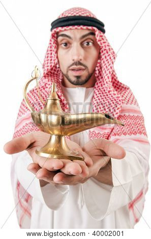 Arab man with lamp isolated on white