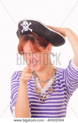 Funny Young Girl In The Pirate Hat