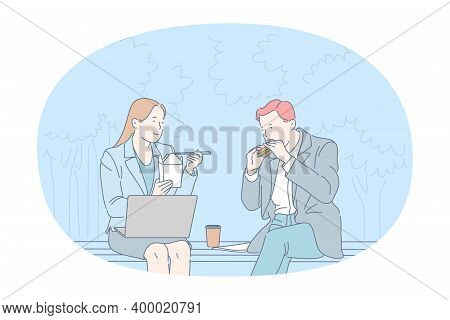 Street Food, Unhealthy Eating, Calories Concept. Young Business Couple Office Workers Sitting And Ea