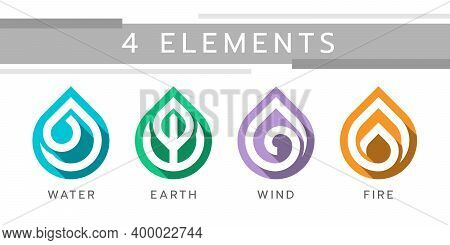4 Nature Elements, Water, Earth, Wind And Fire With White Line In Drop Element Icon Sign Vector Desi