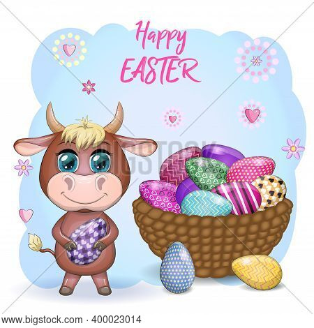 Cute Cartoon Cow And A Bull With An Easter Egg, Next To A Basket Of Eggs, Symbol 2021 On The Eastern
