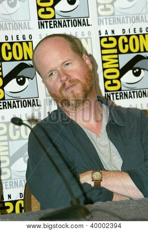 "SAN DIEGO, CA - JULY 13: Joss Weedon attends a press conference for ""Firefly"" at the 2012 Comic Con convention press room at the Bayfront Hilton Hotel on Friday, July 13, 2012 in San Diego, CA."