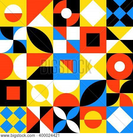 Abstract Geometric Background With Squares, Semicircles, Triangles. Modern Seamless Pattern In Trend