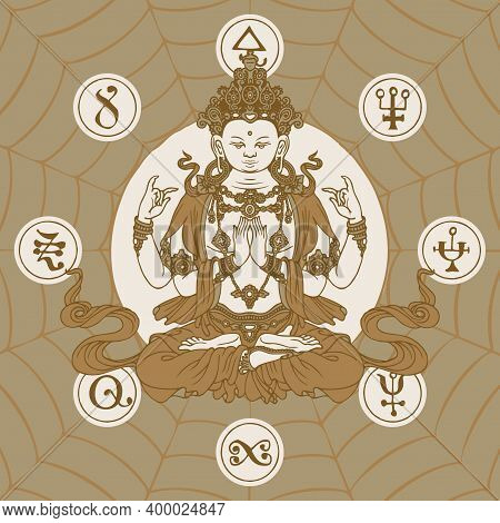 Banner With A Sitting Buddha Meditating In The Lotus Position. Hand-drawn Vector Illustration Of A F
