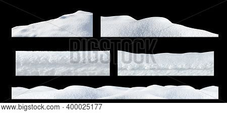 Snow Drifts On An Isolated Black Background. Winter Elements For Design.