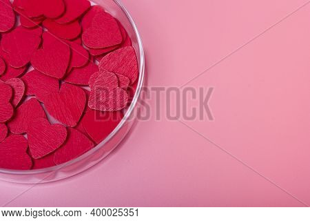 Heart In A Petri Dish On A Pink Background.