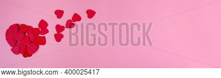 Heart Of Small Hearts On A Pink Background.