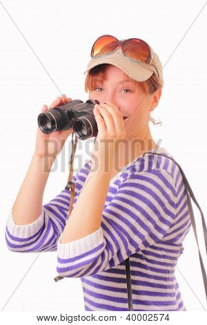 Beautiful Young Girl With Binoculars In Her Hands