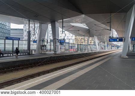 Vienna, Austria - August 30, 2020: Wien Hauptbahnhof Train Station.