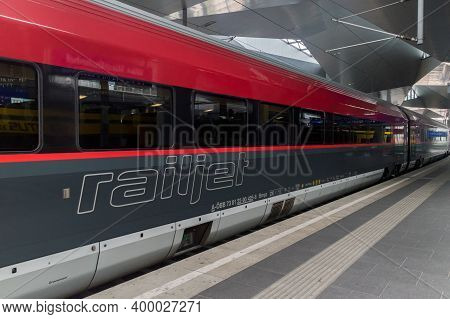 Vienna, Austria - August 30, 2020: Railjet Train At Wien Hauptbahnhof Train Station.