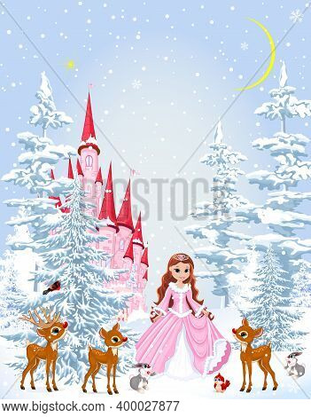 Little Princess In A Pink Dress In The Winter Forest. Princess With Animals On The Background Of A C