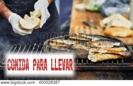 Spanish Text Food To Take Out Or Takeaway. Restaurant Sign Lettering Takeaway Food During Lockdown