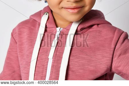 Detail From A Photo Black African American Model With Curly Hair In Pink Fleece Sportswear With Lace