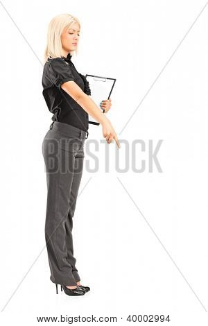 Full length portrait of a brutal woman manager gesturing with her finger, isolated against white background
