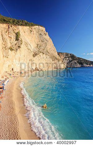 A view of a sandy beach at Lefkada island, Greece