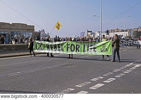 Weston-super-mare, Uk - March 30, 2019: Protestors Against Climate Change March Through The Town Cen