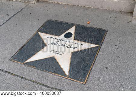 Vienna, Austria - August 30, 2020: Johann Sebastian Bach Star Sign On Vienna`s Walk Of Fame.