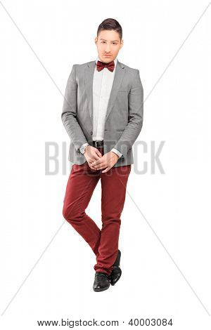 Full length portrait of a handsome stylish male posing isolated on white background