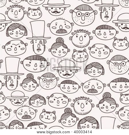 seamless pattern with doodle faces