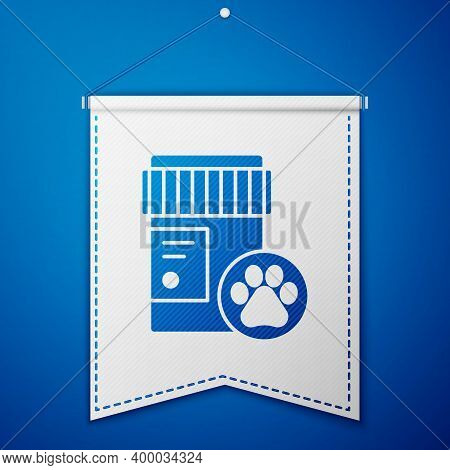 Blue Dog Medicine Bottle Icon Isolated On Blue Background. Container With Pills. Prescription Medici