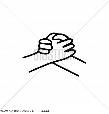 Strong Handshake With Grip. Great Job, Greeting Or Friendly Support, Contracting Or Showing Respect.