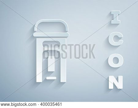 Paper Cut London Phone Booth Icon Isolated On Grey Background. Classic English Booth Phone In London