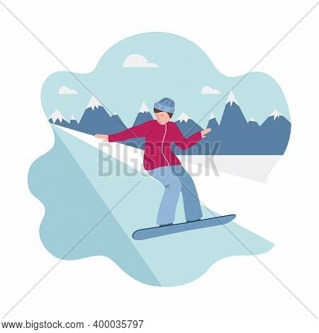 Banner Of Winter Sport - Snowboarding, A Man On Snowboard Rushes Down The Slope. Man On The Backgrou