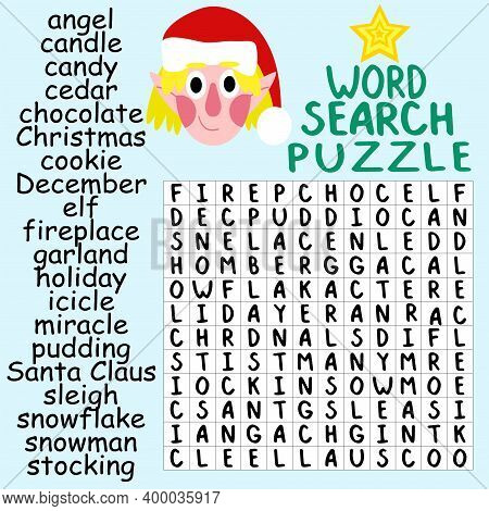 Word Search Puzzle For Childish Christmas Stock Vector Illustration. Help The Elf To Find All Hidden